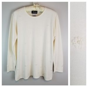 Sag Harbor Plus 1X Cream Soft Long Sleeve Sweater